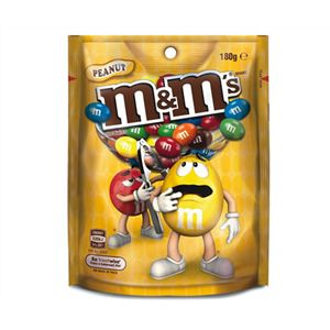 A box of 12 packs of M&Ms Peanut Bags.