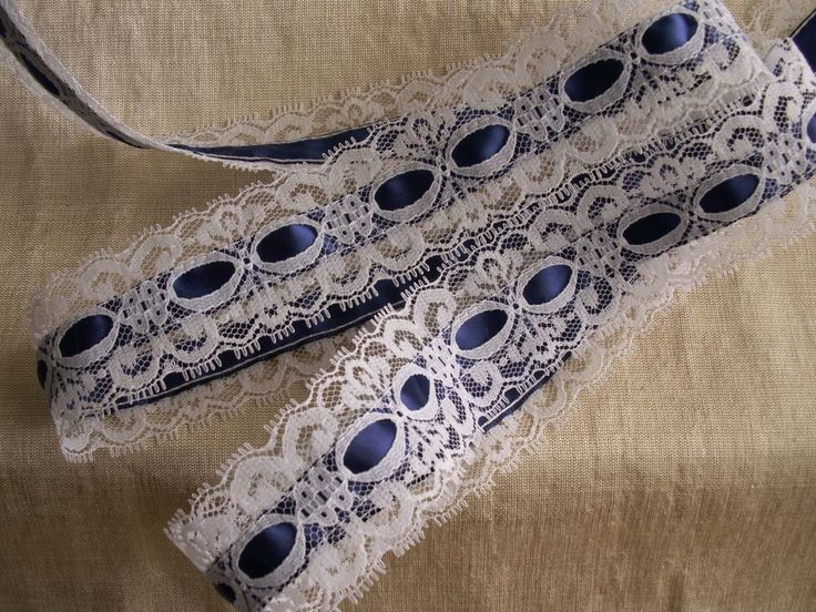 White  Beading Lace with Navy Ribbon Trim, 3 YARDS, Apparel, Lingerie #Unbranded