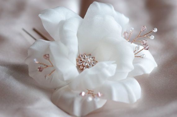 Bridal Hairpiece - Rose Gold Hair Accessories - Crystal Flowers - Wedding Hair Flowers - Vintage Style Wedding Hair Pins - Silk White Rose