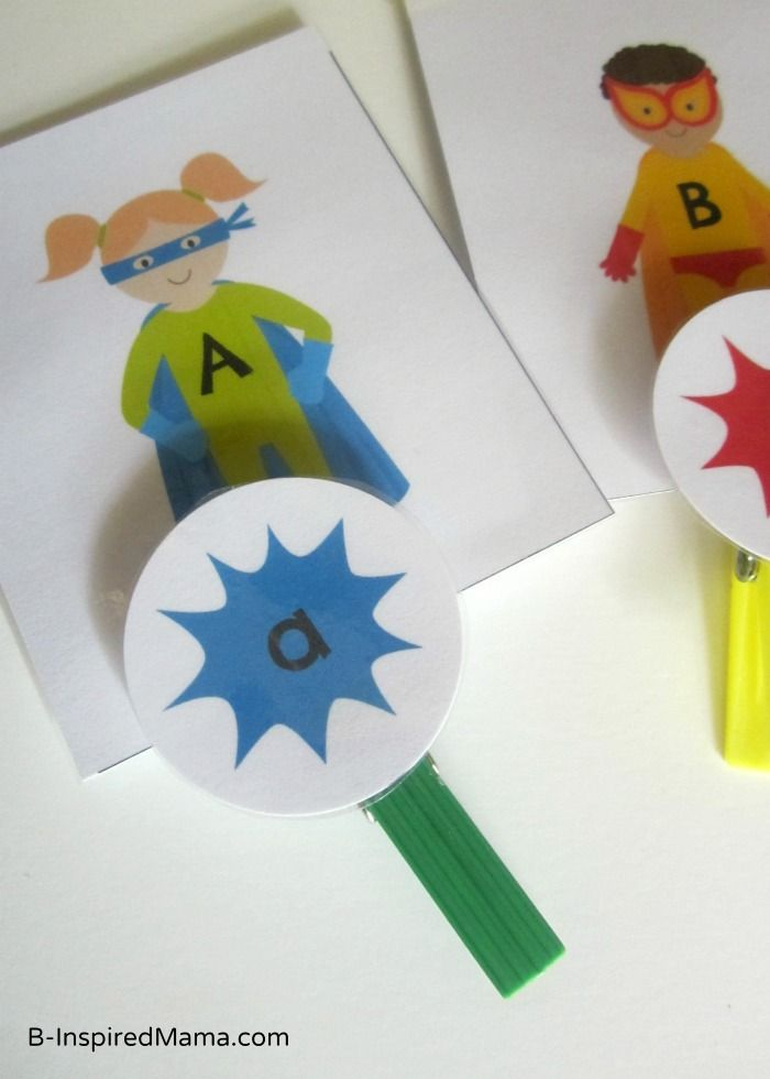 Superhero letter matching activity to learn upper and lowercase letters