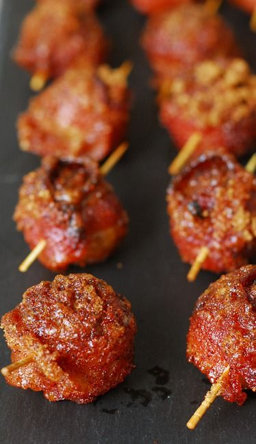 Sweet and Spicy Bacon Wrapped Meatballs