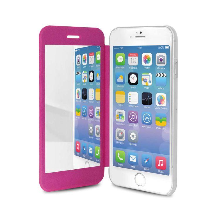 Horisontalt bok-deksel for iPhone 6/6S m/speil rosa