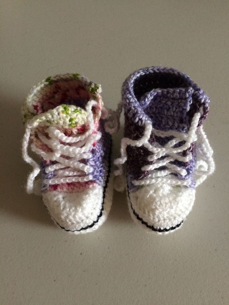 Handmade Crocheted Multi Coloured  Converse  Style Baby Booties