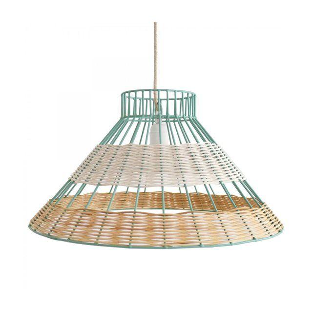 Perfect Lampe Suspension Straw Rotin Blanc et Naturel Armature bleue Serax