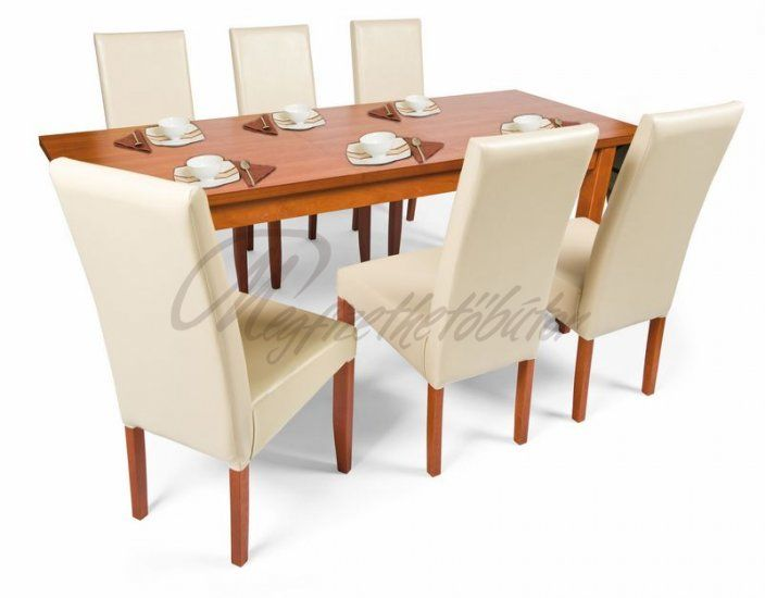 Berta étkező Berta asztallal - 6 személyes - asztal mérete: 160×80 cm,40 cm-el bővíthető További információ weboldalunkon: http://megfizethetobutor.hu/etkezo/etkezogarnitura/osszes/berta-etkezo-berta-asztallal-6-szemelyes?cPath=38_12_14&