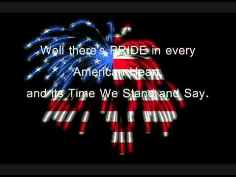 I'm Proud to be an American~ Lee Greenwood Lyrics - YouTube. The red font is a little tricky to read on the smart board, but hopefully it will work.