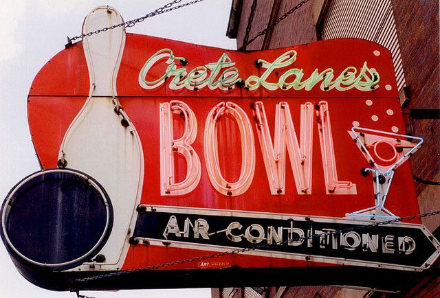Crete Bowl Chicago,IL    Bowling and bubbly - two themes that date this old bowling sign from the south Chicago region.
