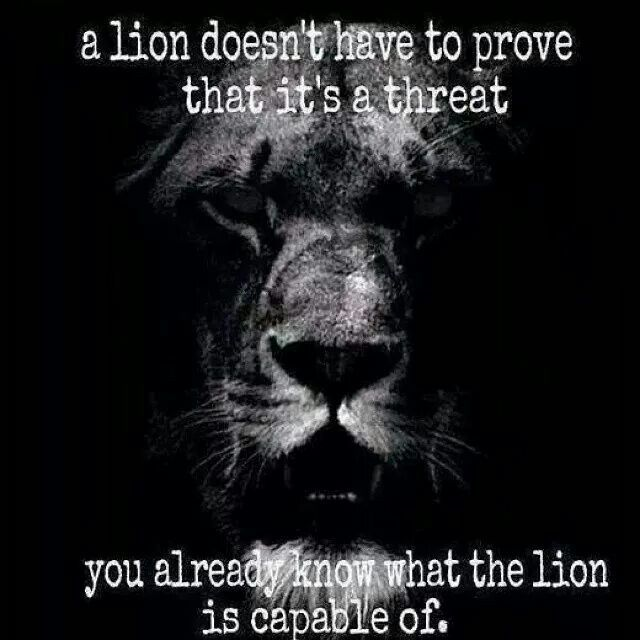 ~Lion Quotes~ A lion doesn't have to prove it's a threat. You already know what the lion is capable of.