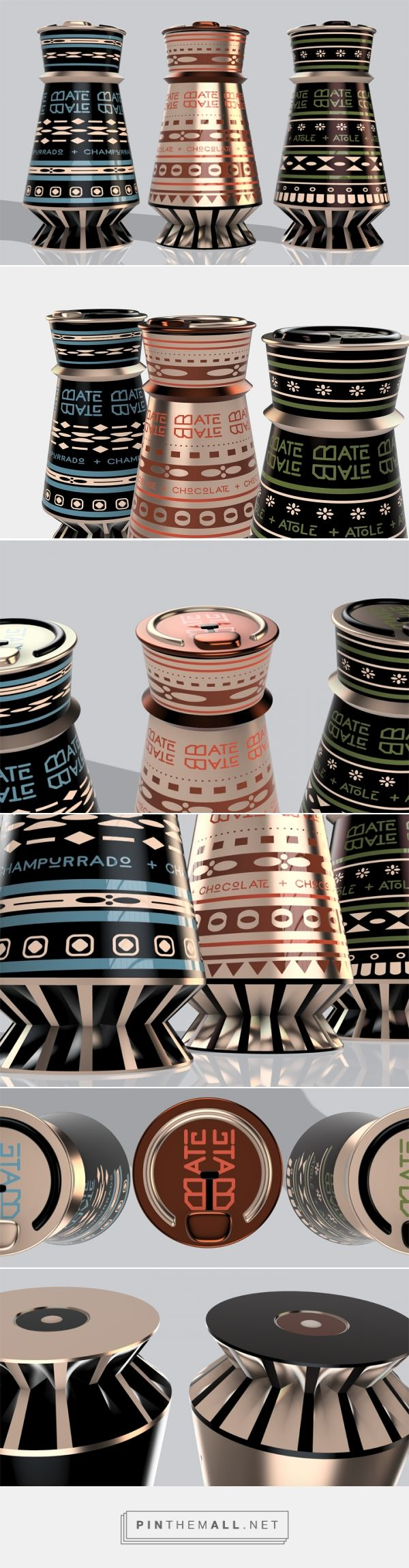 """Bate Bate drinks (concept) by Wenzdai J. Figueroa. """"Branding and sustainable packaging for fictional brand Bate Bate, which in Spanish means """"twirl twirl"""". Taking inspiration from traditional Mexican tools used to make the beverage, the sustainable self-heating packaging brings the taste of home on the go."""" Source: Behance. Pin curated by #SFields99 #packaging #design #inspiration #concept #structural #beverages"""