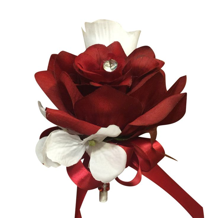 Pin corsage - Apple Red and White Rose with White Hydrangea