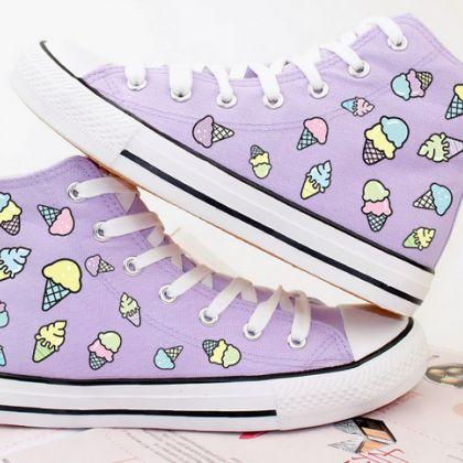 Ice cream print canvas shoes