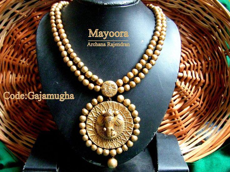 Terracotta Jewellery-Double layered Ganesha necklace