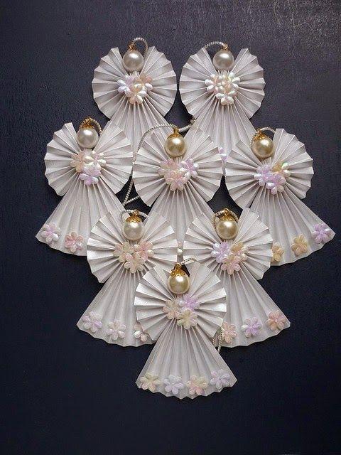Como fazer lindos anjos de papel e pérolas para árvore de natal, presentes e lembrancinhas de maternidade |