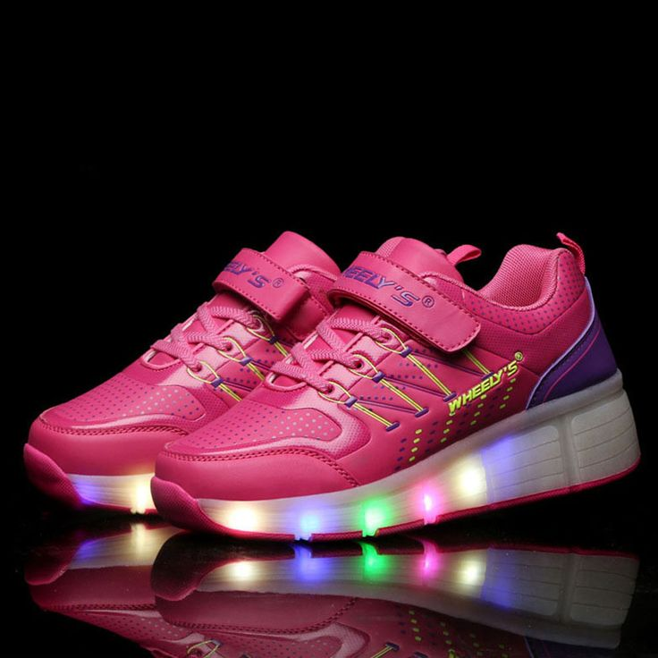 Lights sneakers kid roller SHOES WITH WHEELS shoe de rodinha girl wheel shoes with light children sneakers rollers size 30-40#kids roller shoes