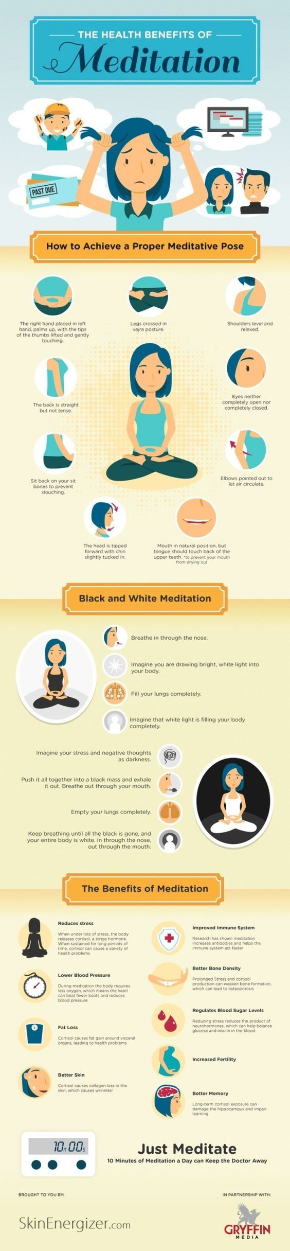 Meditation is gaining popularity for its ability to improve overall well being of the mind, body and soul.  We know it can make us feel happier but did you know it can actually make us healthier?  Here are the most common health benefits of meditation // skinnymetea.com.au