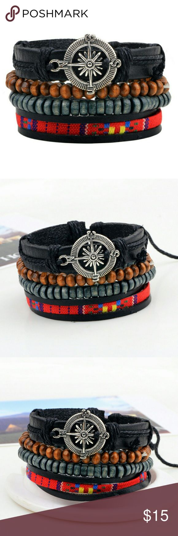 "4 pieces a set Bracelets Handwork Sailing Compass Beads Bracelets   Feature: fashion, vintage, sailing  Material: leather, coconut beads, braid belt   Specifications: 2.5"" in dia, 7""-8"" in length, adjustable size    Makes a great gift for friend and family or self purchase Jewelry Bracelets"