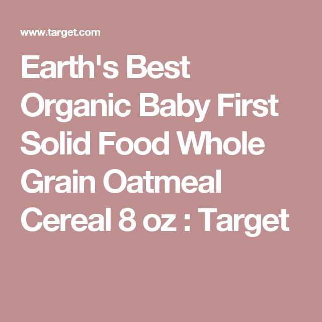 Earth's Best Organic Baby First Solid Food Whole Grain Oatmeal Cereal 8 oz : Target
