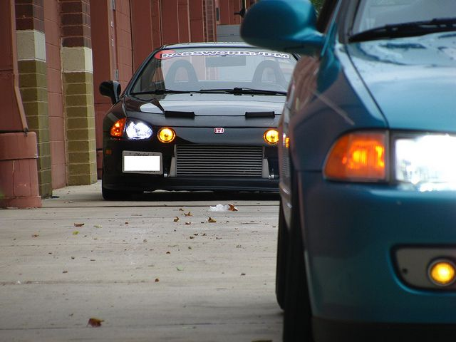 Boosted Honda Civic del Sol via Emile Koroma on Flickr - You probably wouldn't see that car in your rear view mirror very long if it's got the engine to back up that intercooler.