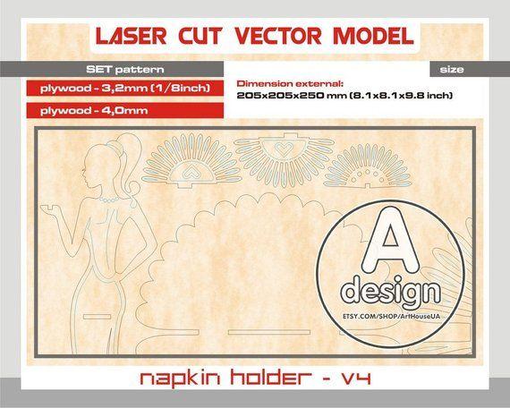 Napkin holder, Wood napkin holder, Plywood napkin holder, Laser cut napkin holder, napkin holder svg, Scroll Saw pattern, Cnc file, NH – V4