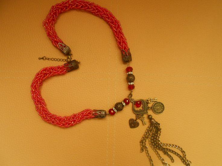 бусы из бисера фурнитура античное золото бусины красные-стекло