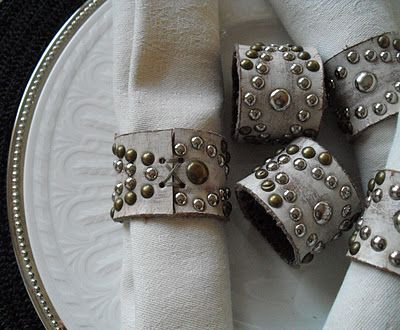 Napkin ring made from leather belt