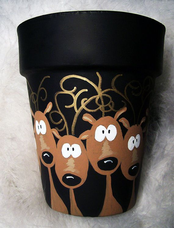 Reindeer in Headlights Flower Pot Hand Painted Original
