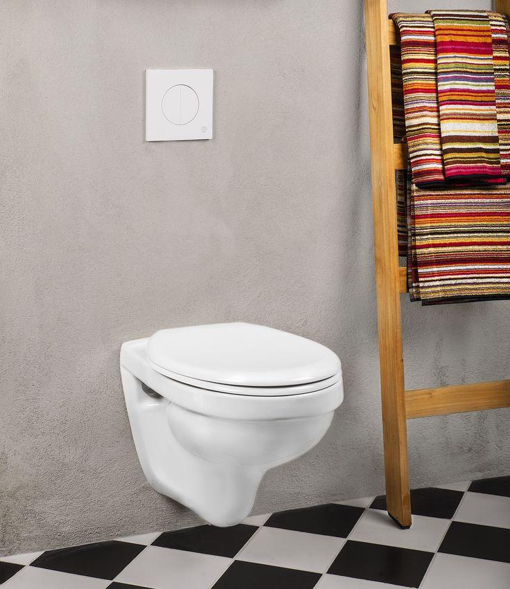 Vägghängd toalett Nordic³ 3530. Snygg och lättstädad.