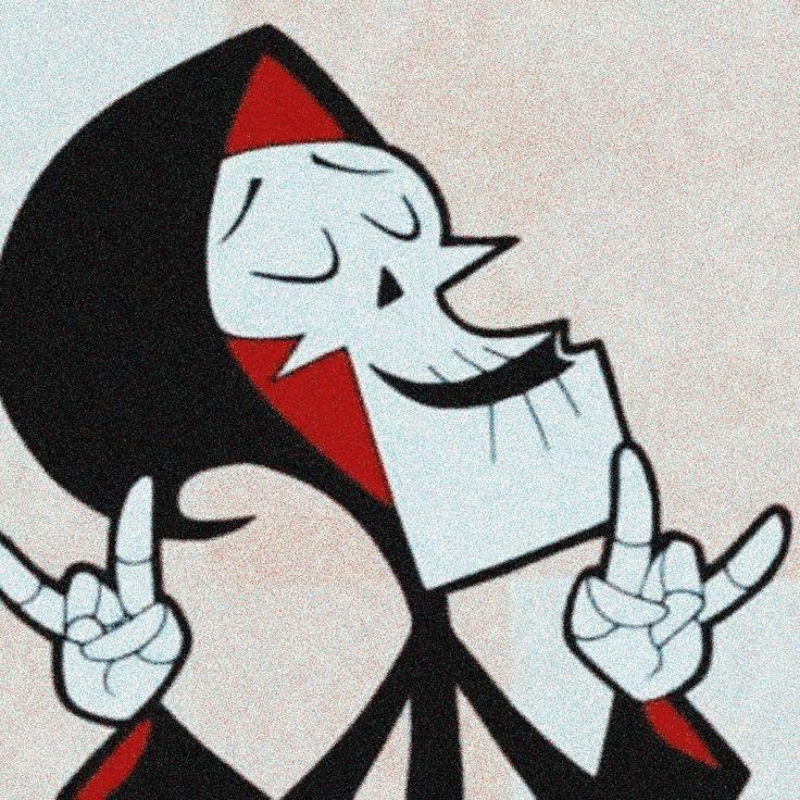 red. black. white. cartoon aesthetic. the grim adventures