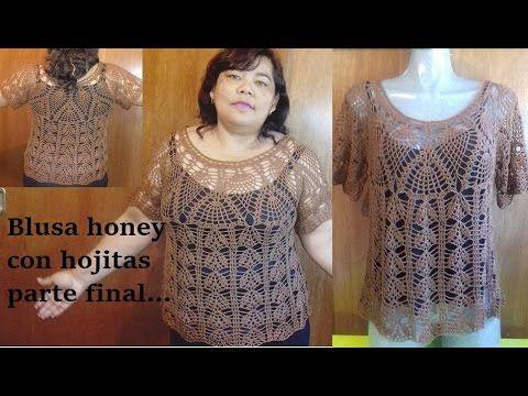 Blusa a crochet honey con hojitas (finalizada)