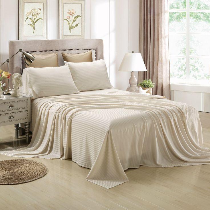 Honeymoon Satin Dobby Striped 4PC Bed Sheet Set   Sage Bedding Set   $29.99