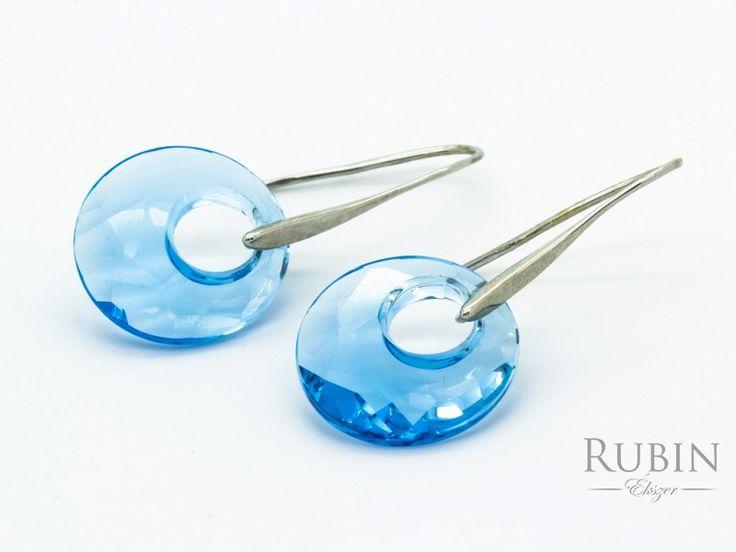 Kék kristályos beakasztós nemesacél fülbevaló