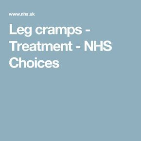 Leg cramps - Treatment - NHS Choices