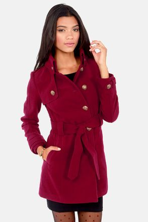 BB Dakota by Jack Camelot Wine Red Belted Pea Coat at LuLus.com! and it's so cheap!!! wuhhh!!!  #lulus #holidaywear