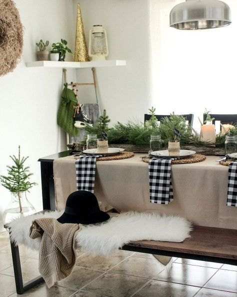 Black and white Buffalo check no-sew napkin accents with burlap and fresh elements.