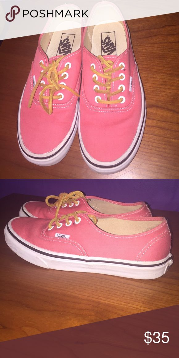 Muted coral Vans Barely worn Coral Vans with Suede shoe laces. Free beauty item with every purchase! Vans Shoes Sneakers
