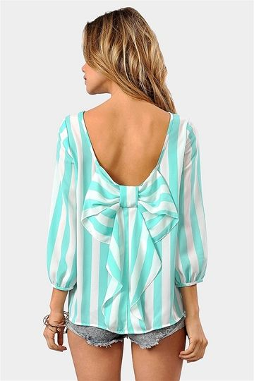 Waldorf bow backed blouse in mint & white #mintobsessed