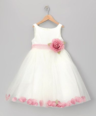 White & Dark Pink Rose Petal Dress - Girls #zulily #zulilyfinds
