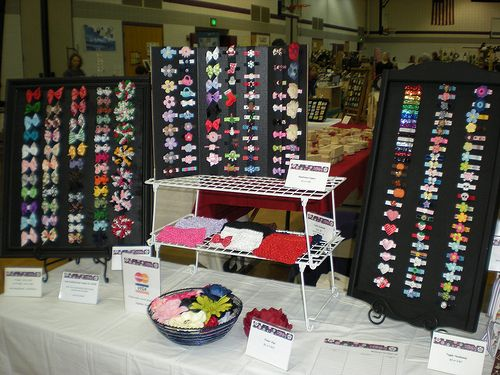 craft show booth hair accessories | 1st craft show yesterday! - pics - Hip Girl Boutique Free Hair Bow ...