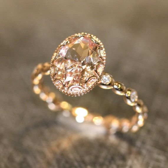 Floral Morganite Engagement Ring in 14k Rose Gold by LaMoreDesign this is it! holyeffingjeez!
