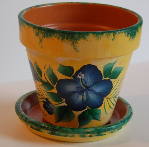 6'' or 8'' Hand Painted clay flower pot Tropical Dark Blue Hibiscus design ~ Hawaii flower pot ~ One stroke style