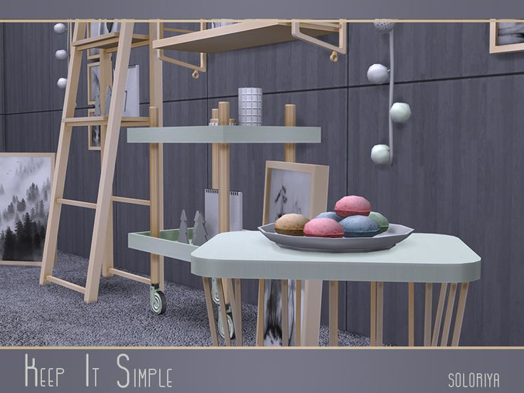 "soloriya: "" ***Keep It Simple*** TS4 Includes 17 objects: cart, coffee table, bar stool, fucntional shelves, ladder with functional shelves, notepad with trees, wall clock, cookies, wall paintings,..."