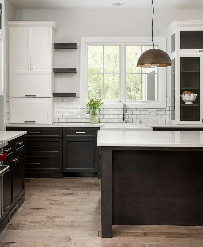 Two Toned Kitchen With White Upper Cabinets And Dark Stained Lower Cabinets The Upper Cabinets Upper Kitchen Cabinets Refacing Kitchen Cabinets Upper Cabinets