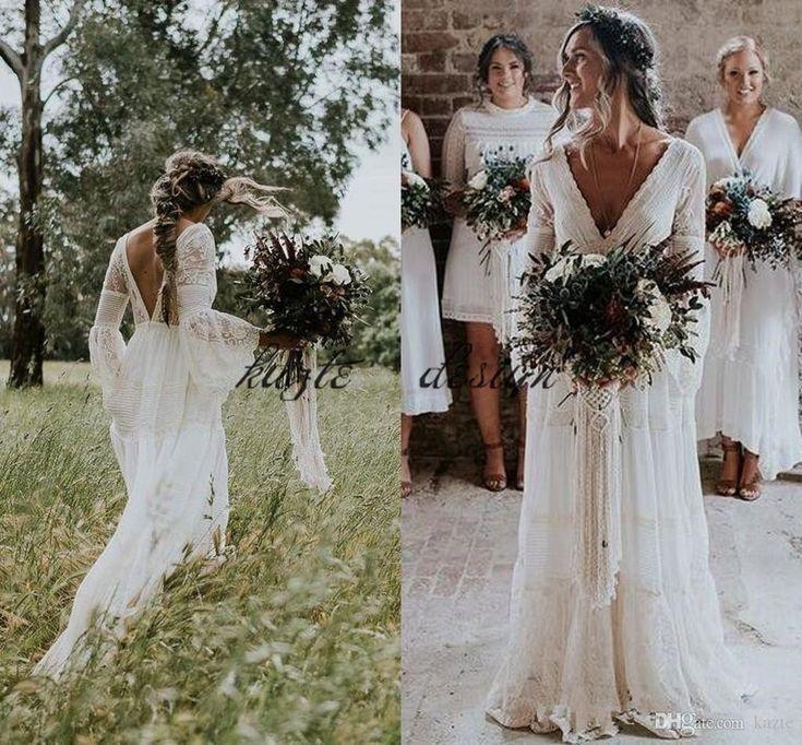 2018 Gwendolyn Bohemian Brautkleider V-Ausschnitt Spitze Vintage Sommer Braut We…