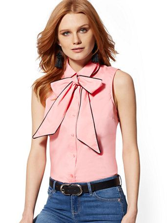 de76118519e84 Shop 7th Avenue - Bow-Accent Madison Stretch Shirt. Find your perfect size  online at the best price at New York   Company.