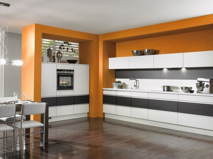 Examplary Orange Kitchen Furniture And Interior Fixtures: Contemporary  White Dining Table Set And Cool Orange Kitchen Set Combine With White Cabinets  On ... Part 27