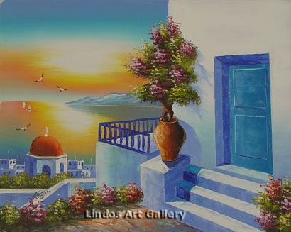 Greek Red Church Seaview Oil Painting