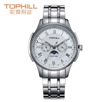 2015 Tophill cuarzo vestir fase lunar reloj hombre multifunción Chrono deportes taquímetro relojes patrón profundo Dial
