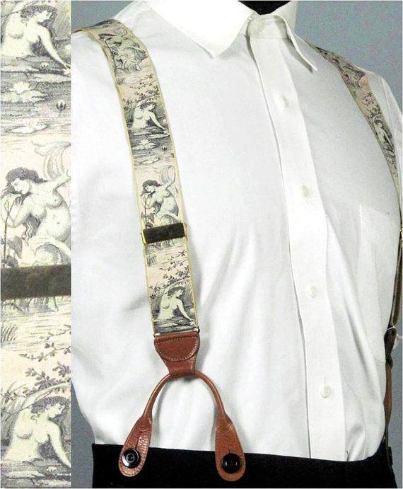 "Vintage 1930s 1940s Mens Braces Garter Set  -- Rare J. Press Silk Brocade Ribbon ""Daphne"" Set - Trad Ivy Style on Etsy, $250.00"