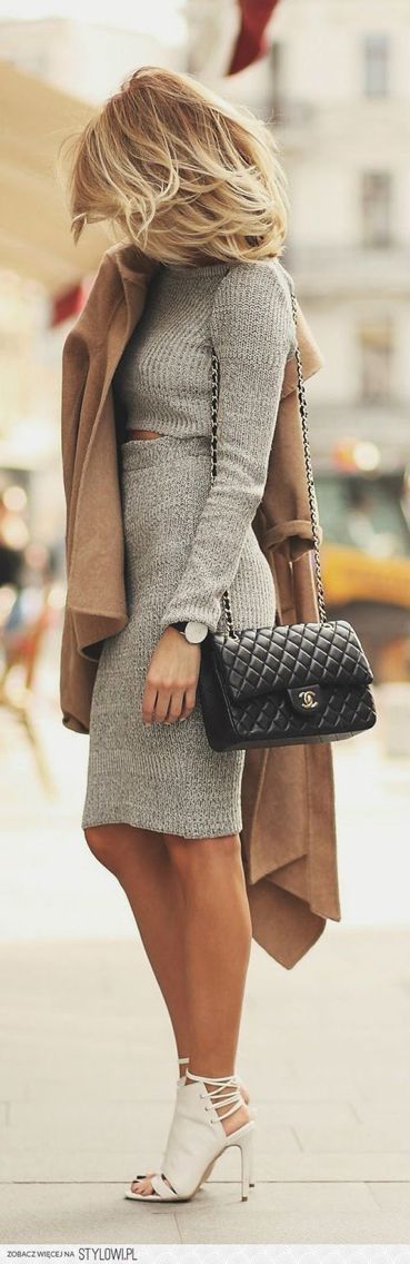 Love the sweater dress! And the color! Don't like the shoes and the purse.