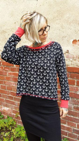 """Sweatshirts - Suzi.Ramone Kurz-Pulli """"Jill"""" Vintage Anker - ein Designerstück von ByRamone bei DaWanda"""